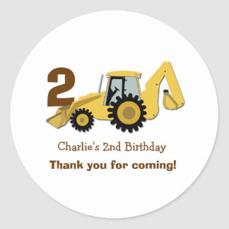 Construction Backhoe Birthday Favor Stickers