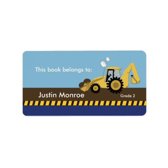 Construction Backhoe Bookplate label
