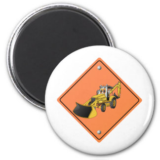 Construction Backhoe Cartoon Sign.png 2 Inch Round Magnet
