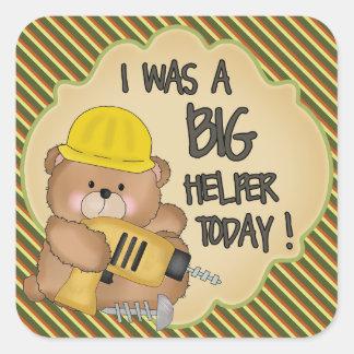 Construction Bear Big Helper Award Sticker