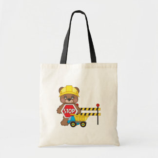 Construction Bear kids tote bag