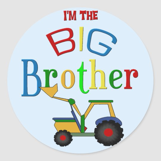 Construction Big Brother Gifts Round Sticker