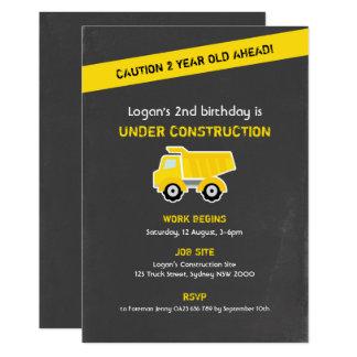 Construction Birthday Invitation, Chalk Card