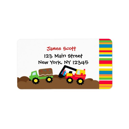 Construction Birthday Party Return Address Labels