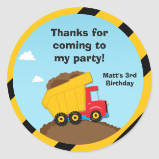 Construction Birthday Party Thank You Stickers