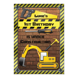"Construction Birthday Party Tools and Diggers 5"" X 7"" Invitation Card"