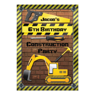 Construction Birthday Party Tools and Diggers Personalized Invite