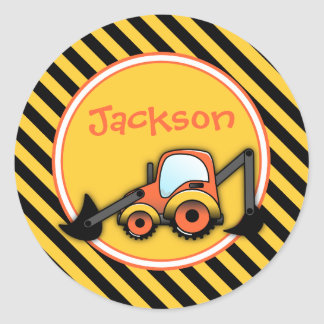 Construction Birthday Stickers, Digger Party Round Sticker