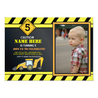 Construction Building Digger Truck Birthday Party Card