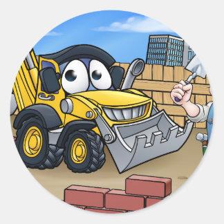 Construction Building Site Scene Classic Round Sticker