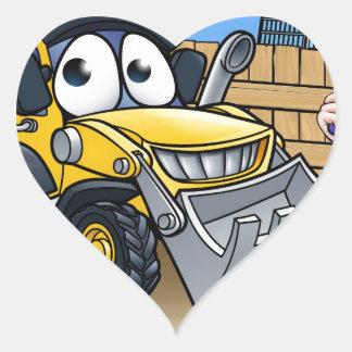 Construction Building Site Scene Heart Sticker
