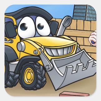 Construction Building Site Scene Square Sticker