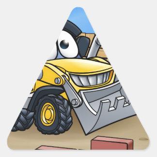 Construction Building Site Scene Triangle Sticker