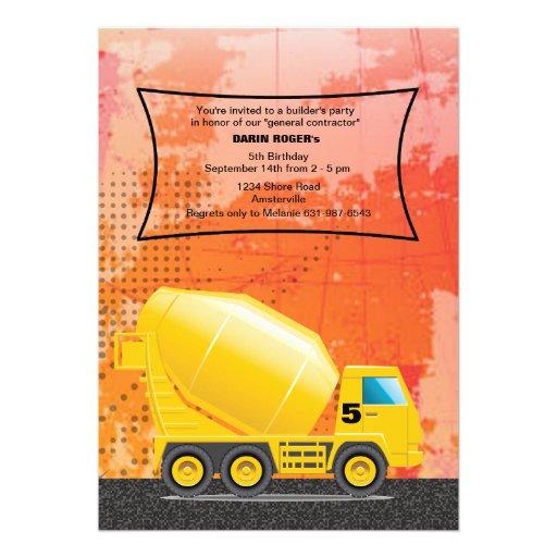 Construction Cement Truck Invitation