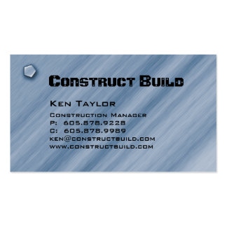 Construction Contractor Business Card Metal Blue