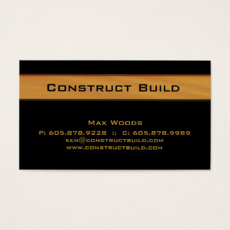 Construction Contractor Business Card Wood Grain 2