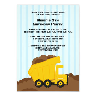 Construction dump truck boys birthday party invite