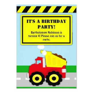Construction Dumptruck Boys Birthday Invitation
