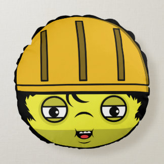 Construction Face Round Pillow