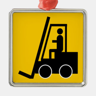 CONSTRUCTION FORKLIFT VEHICLE GRAPHIC LOGO METAL ORNAMENT