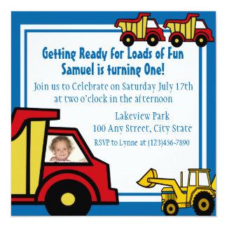 """Construction Fun Dump truck Photo 5.25"""" Square Invitation Card"""