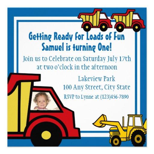 Construction Fun Dump truck Photo Custom Announcements