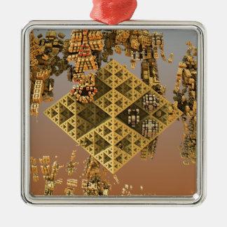 """""""Construction"""" futuristic abstract art Silver-Colored Square Ornament"""