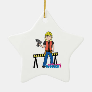 Construction Girl - Light/Blonde Ceramic Star Ornament