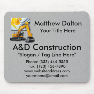 Construction Grey with Backhoe Mouse Pad