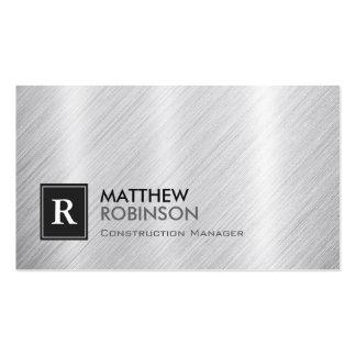 Construction Manager - Brushed Metal Monogram Pack Of Standard Business Cards