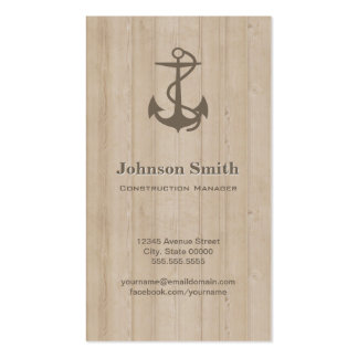 Construction Manager - Nautical Anchor Wood Business Card