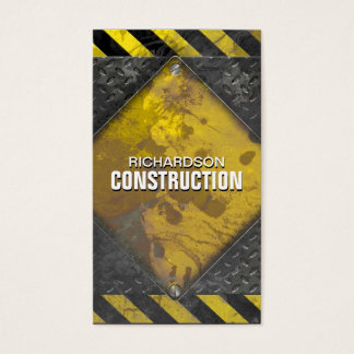 Construction Metal Business Card Black Yellow Rust