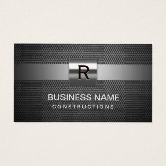 Construction Metal Monogram Professional Business Card