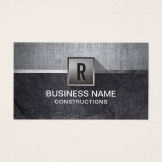 Construction Metal & Stone Modern Monogram Business Card