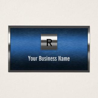 Construction Monogram Blue Metal Border Business Card