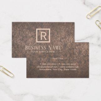 Construction Monogram Modern Metallic Copper Business Card