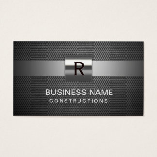 Construction Monogram Professional Metal Business Card