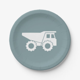 Construction Party Paper Plates- Dump Truck Plate 7 Inch Paper Plate