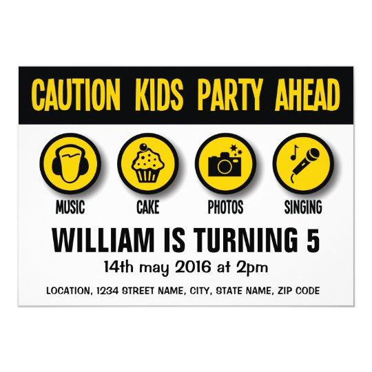 Construction Signs Caution Birthday Invitation