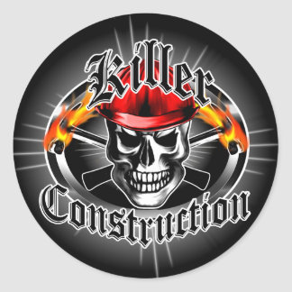 Construction Skull 3 With Red Hard Hat Round Sticker