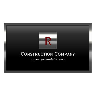 Construction Steel Border Monogram Professional Pack Of Standard Business Cards