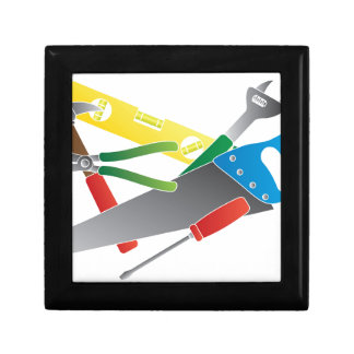 Construction Tools Colors Illustration Gift Box