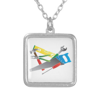 Construction Tools Colors Illustration Silver Plated Necklace