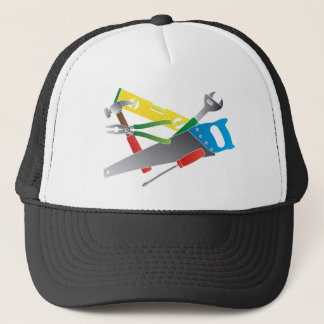 Construction Tools Colors Illustration Trucker Hat