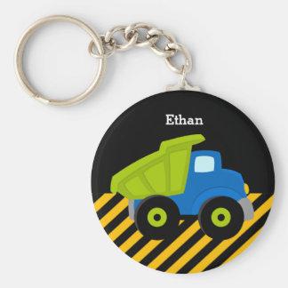 Construction Truck Basic Round Button Keychain