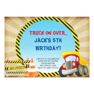 Construction Truck Birthday Party Invitations