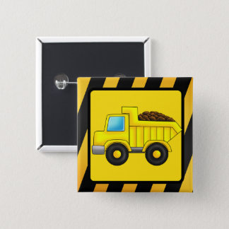 Construction truck car print 2 inch square button