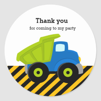 Construction Truck Classic Round Sticker