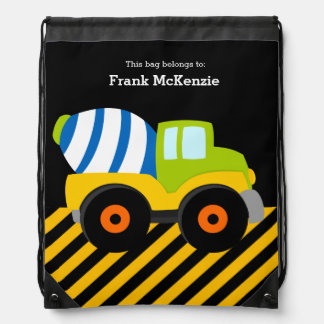 Construction Truck Drawstring Bag