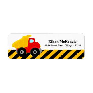 Construction Truck Return Address Label